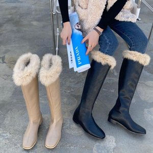 Hot Sale-Women Fur Boots Fashion Winter Flat Heel Ladies Square Toe Short Booties Causal Furry Female Soft Boots Woman Warm Fashion Shoes