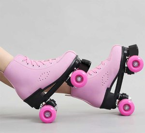 2020 Girls Women Adult Kids Roller Skates PU Leather Skating Shoes Sliding Quad Sneakers 4 wheels 2 Row Line Outdoor Gym Sports