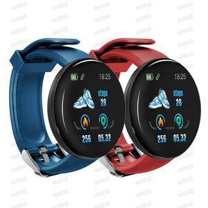 D18 Smart Watch Intelligent Blood Pressure Round Smartwatch Waterproof Fitness Tracker Message Reminder For Andriod Phone with Retail box