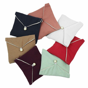 High-end Double-Layer Fabric Jewelry Bag Purse Snap Button Thick And Delicate Velvet Ring Necklace Jewelry Storage Bag Wholesale