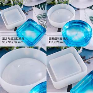 DIY Epoxidharz Silikonformen Kristalltropfenkleber Kleine Runde Aschenbecherform Weiß Transluzente Umwelt Handwerk Werkzeuge Heißer Verkauf7 5LY M2