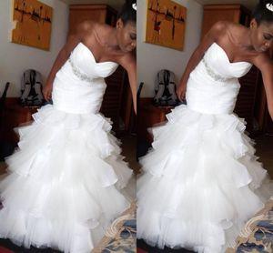 2021 African black girl's plus size tiered skirt mermaid wedding dresses bridal gowns robe de mariée wedding dress