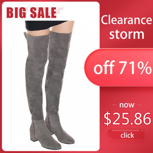 WETKISS Clearance Hot Sale Over The Knee Boots Women Fashion Winter Boots Woman Shoes Autumn Zip Thick Heel Thigh High BootsZ1204