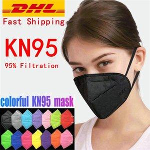 KN95 Mask MASK MULTICOLOR Polvere antipolvere 5 strati di protezione 95% Filtrazione Maschera facciale Maschera non tessuta Tessuto nero KN995 Maschere per la faccia KN995