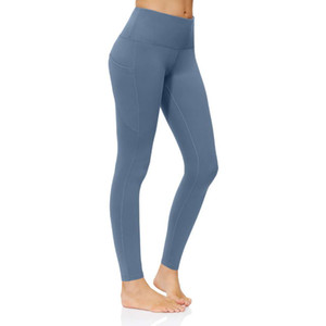 2020 Nylon Yoga Pants Ladies Pocket High Waist Cropped Pants Skinny Sports Running Workout Clothes 2 New Hot Sale123569