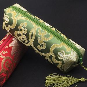 2pcs Tassel Rectangle Zipper Travel Bag Cosmetic Makeup Pencil Case Christmas Gift Pouches Silk Brocade Wedding Party Favor