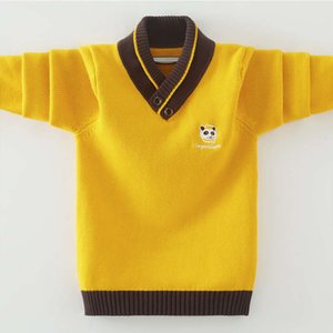 Boys' sweater Pullover 2020 new foreign middle school children's autumn and winter Chine sle T-shirt with cashmere thread