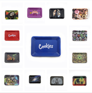 Stock In US 200pcs lot cookies rolling tray over 40 patterns Two colors Two sizes metal tray printing
