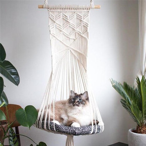 Hand-Woven Cotton Hanging Basket Pet Nest Accessories Cat Dog Hammock Thread Swing Bohemian Wall Hanging Macrame 5 Sizes