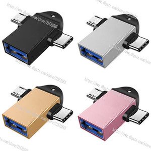OTG adaptador tipo C USB 2 em 1 Android Phone Adapter Tablet PC cabo adaptador OTG Micro, For Samsung Huawei