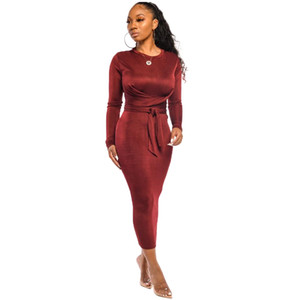 Autumn European and the United States casual fashion long sleeve round neck solid color sexy dress 9205