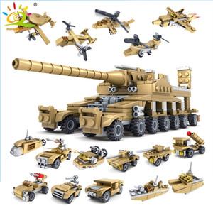 HUIQIBAO 16 in 1 Military Weapons Super Tanks Building Blocks Assemblage Sets Educational Bricks Toys For Kids Children LJ200928