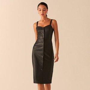 DabourFeel Seksi Kare Boyun Kolsuz Bodycon Elbise Kadınlar Düğmeli PU Deri Elbise Bayanlar Zarif Parti Kulübü Elbise 2020 Yeni Q0111