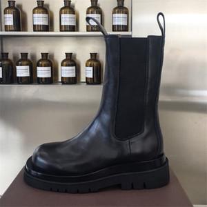 Frauen-Stiefeletten Herbst 2019 Runway Hohe Qualität Mid-Calf-Stiefel mit einer gestapelten schwarzen Sohle-Größe EU 35-40
