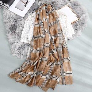 Bufanda de lana de seda de primavera y de verano Bufanda de tela escocesa de mujer All-Match Shawl Long Silk Factory Women Direct HiJab1