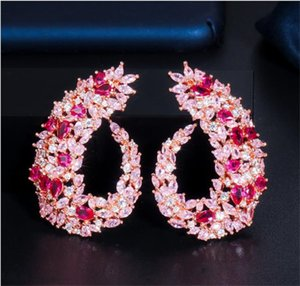 Designer Circle Earrings Zircon Long Dropping Drop Earrings Set Colorful Cubic Zirconia Jewelry For Women Fashion Wedding Bridal Jewelry