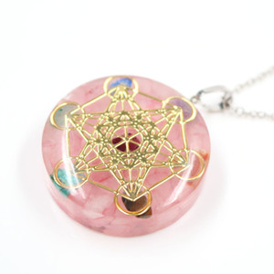 10 Pcs Gold Plated Star Amethyst Stone and Resin Pendant Transfer Lucky Gift Necklace Rose Quartz Jewelry