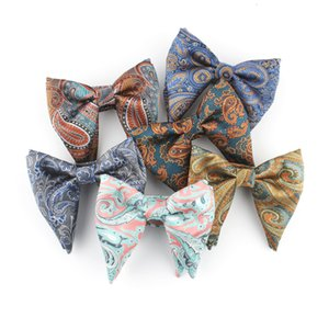 TAGERWILEN Green Paisley Big bowtie Groom BowTie Black Tuxedo Bow tie Pretied bow tie Wedding men Grooms bowtie