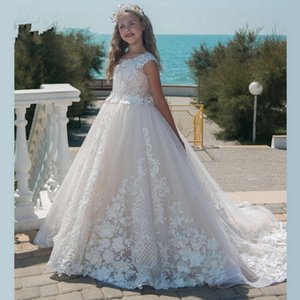 Flower Girl Dresses luxurious Sleeveless Tulle Lace Applique Kids Evening Gowns For Girls First communion Girl Dress