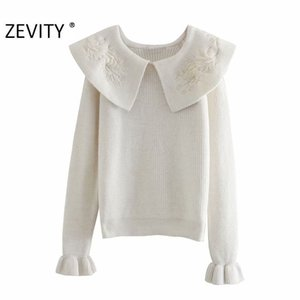 Zevity New Women Fashion Flower Embroidery Turn Down Collar Casual Knitting Sweater Female Chic Flare Sleeve Pullovers Tops S431 J1202