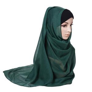 2021 Elegant Women Scarf Turban Shawl 175*72cm Chiffon Islamic Headscarf Muslim Hijabs Large Size Hijab Wrap Pure Color Headwrap