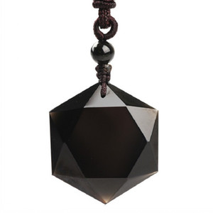 Doğal Kristal Kolye Gemstone Takı Obsidiyen Kolye Elmas Hediye Ham Taş Erkek / Kız Arkadaş Hediyeler Kişiselleştirilmiş Takı DHD3802