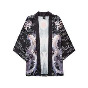 Stile cinese Han e Dynasty Dynasty Dragon Dragon Robe Glototing World Painting Double Dragons Giocare con perline e stile Kimono Style Seven Point Sleeve