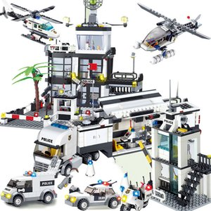 City Street Police Station Building Block Sets Kids Toys Compatible Car Truck Rescue Creative Model Cop Vehicle Brick Y1221