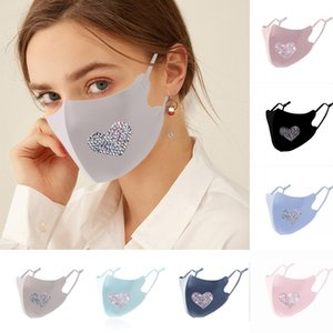 Bling Bling Rhinestone Design Face Masks Women Protective Dustproof Washable Reuseable Facemask Fashion Party Mouth Mask Kimter-C361FZ