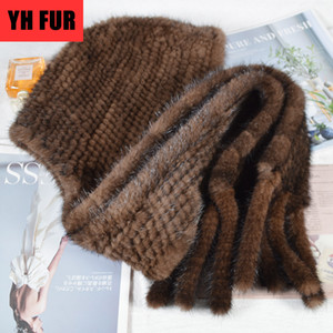 New Style Luxurious Winter Warm Soft Women Real Scarf Hats Genuine Poncho Cap Handmade Knit Mink Fur Shawl Hat