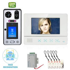 7 pouces visiophone Interphone Sonnette avec reconnaissance des visages d'empreintes digitales RFIC caméra filaire 1000TVL