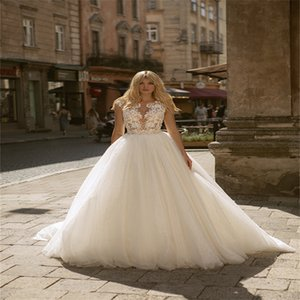New Arrival Boho A Line Wedding Dresses Sleeveless Appliqued Lace Bridal Gowns Ruched Tulle Cheap Gorgeous Custom Made Robes De Mariée