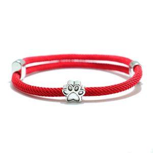 Noter Trendy Lucky Black Red Rope Bracelet For Men Women Adjustable Wrap Braslet Cute Dog Pendant Brazalete Yoga Braclet