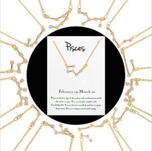 12 Constellation Zodiac Sign Necklaces For Women Crystal Jewelry Leo Libra Aries Pendant Horoscope Astrology Necklace Birthday Gift