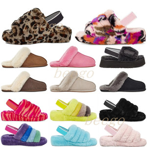 With Box 2021 designer snow scuffette disco checker ii woman classic fluff fuzz yeah slide shoes womens girl lady winter flat wgg 35-42