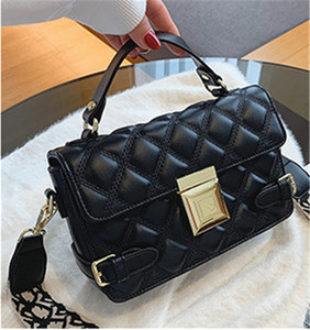 Ringer texture handbag for women 2020 new niche Instagram one-shoulder bag wide shoulder strap cross body small square bag