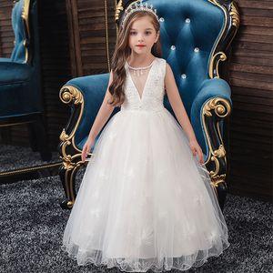 Kids Girls Princess White Dress Evening Tutu Dresses Summer Baby Girl Clothes Long Dress Birthday Party Vestido Wear 3-12 Years Y1130