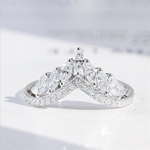 Size 6-10 Luxury Jewelry Real 925 Sterling Silver Crown Ring Full Marquise Cut White Topaz CZ Diamond Moissanite Women Wedding Band Ring