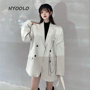 Nyoolo High Street élégant Tempérament Chaîne Blazer Femmes Top automne lâche épaule à double boutonnage Blazer Femelle Workwear