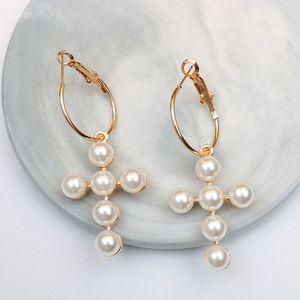 2020 fashion designer new pearl cross earrings long European and American tassel wild pearl earrings earrings wholesale