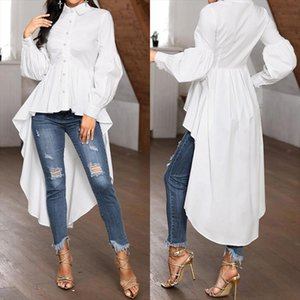 Stylish Asymmetrical Tops Womens Spring Blouse ZANZEA 2020 Casual Button Down Blusas Female Lapel Puff Sleeve Shirts Oversized