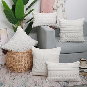 Lona bege com tampa de almofada de bordado branco 45x45cm / 30x50cm Handmade cama geométrica quarto sofá decoração descanso capa