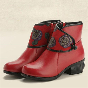 high quality fashion women shoes autumn winter Genuine Leather boots soft bottom print national style short boots shoes