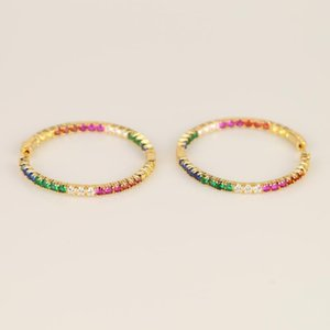 Charm 2021 Gold Color Top Quality Delicate Colorful Cz Hoop Multi Stone Romantic Chic Gorgeous Women Ladies Rainbow Earring