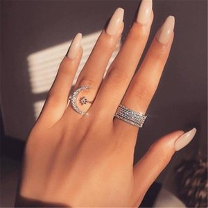 Handmade Moon Star Promise ring Diamond 100% Real 925 Sterling silver Engagement wedding band ring for women Men Party Jewelry