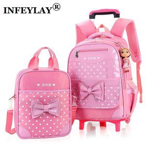 / bag insieme della ragazza trolley Bambino di scuola i bambini 6-15 anni studenti valigia libero bambola zaino impermeabile bagaglio di viaggio LJ201116