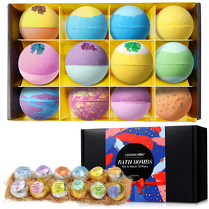 LAGUNAMOON 12pcs colorido da bolha Natural Bath bomba Gift Set multi Perfumado Aromas Pele seca Hidratar Fizzies Spa Kit