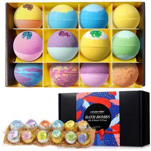 LAGUNAMOON 12шт Красочные Природные Bubble Bath Bomb Подарочный набор нескольких Ароматические Ароматы для сухой кожи Увлажнение Fizzies Spa Kit
