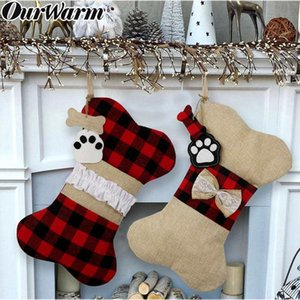 Big Plaid Puppy Dog Christmas Stocking 42cm*26cm Cotton and Burlap Bone Christmas Gift Bags for Dog