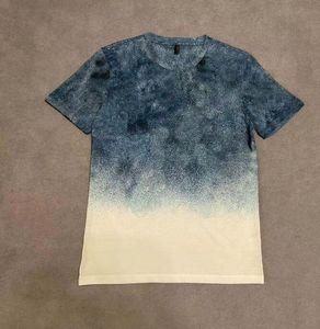 2020ss Avrupa Fransız Bahar ve Yaz Yeni Degrade Renk Mektup Baskı Moda Yüksek Kalite Yabani Casual En Geniş Sürüm Erkekler T-Shirt